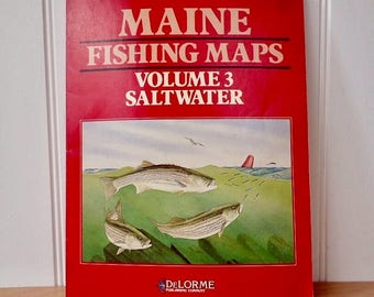 Maine Fishing Maps Volume 3 Saltwater Book DeLorme Father's Day Man Cave Beach House Camp Decor Collage Upcycle Supply Paper Ephemera