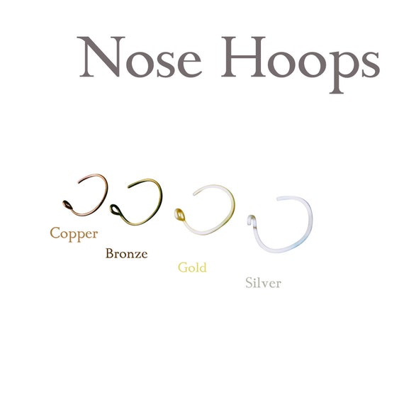 Silver Gold Copper Brass Nose Rings 24G Nose Rings, snug piercing, body jewelry, nose jewelry, nose hoopUGE - Small- Thread Through