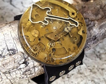 Guitar Steampunk Leather Wristband Cuff -Bracelet-Steampunk Bracelet-Steampunk cuff-steampunk gift