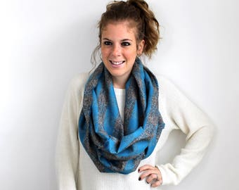 Blanket Scarf Plaid Fleece Aqua Gray