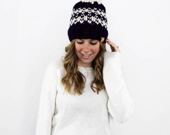 Knitted Hat Chunky with Pom Fair Isle Navy- Ellicott Hat