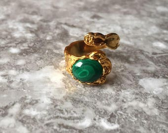 Raw Malachite Gold Ring - Crystal Ring - Healing Stone Jewelry