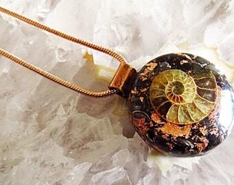 Powerful Orgone Pendant - Black Obsidian/Black Tourmaline/Ammonite/Hematite -  FREE WORLDWIÐE SHIPPING!