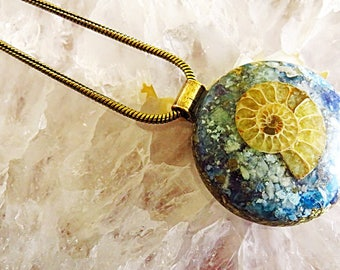Powerful Orgone Pendant - Blue Apatite/Amazonite/Ammonite/Sodalite - FREE WORLDWIDE SHIPPING!