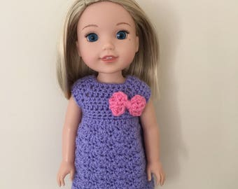 "Lilac dress for 14.5"" doll such as American Girl Wellie Wishers"
