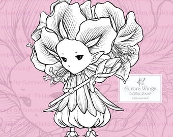 PNG Amaryllis Sprite - Aurora Wings Digital Stamp - Christmas Holiday Flower Fairy - Line Art for Arts and Crafts by Mitzi Sato-Wiuff