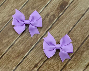 Lavender Pigtail Bows, Lavender Bows, Light Purple Bows, Girls Pigtail Bows, Girls Bow Clips, Bow Hair Clips, Pigtail Hair Bows, Purple Clip