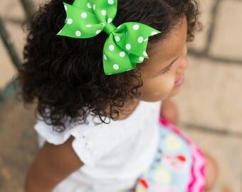 Lime Green Bow, Lime Green Hair Bow, Light Green Bow, Light Green Hair Bow, Apple Green Bow, Green Polka Dot Bow, Girls Hair Bow, Girls Bows