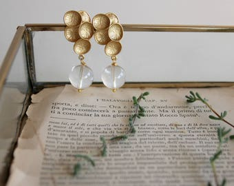 Quartz earrings, tiny clear quartz dangle earrings, gemstone wedding jewelry