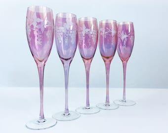 Vintage Set 5 Tall Pink Crystal Etched Wine Glasses - Five Large Pink Flutes w/ Clear Base Grape Motif - Pink/ Purple Glass Bowl & Stem