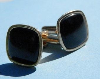 SWANK Vintage Cufflink Set Black Stone