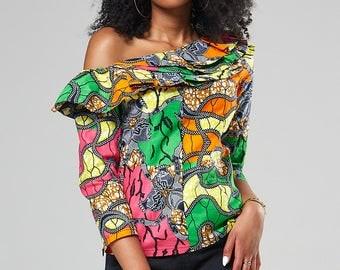 African shirt top, African print one hand ruffle top, ruffle shirt, African tops for women African clothing Women's top (NERISSA ruffle top)