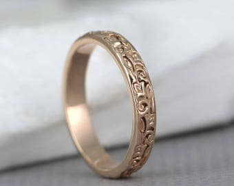 14K Rose Gold Wedding Band - Design Band - Stacking Ring - Pattern Wedding Band - Pink Gold Wedding Band
