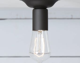 Flat Black Ceiling Light - Semi Flush Mount