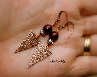 Art Deco Copper Earrings Burgundy Pearl & Crystal Earrings Unique Modern Copper Triangle Arrows Bohemian Pearl Earrings Urban Chic Earrings