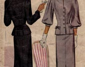 Women's 1940s Victory Suits and Utility Suits 1940s Size 14 Bust 32 Fitted Suit Dress McCalls 6685 Vintage Sewing Pattern 40s Tailored Two Piece Jacket Skirt $18.99 AT vintagedancer.com