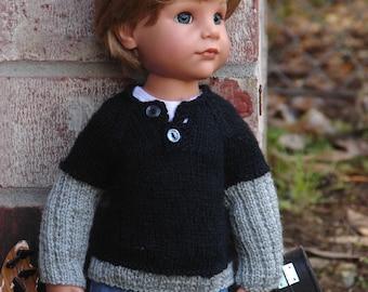 OOAK Hand-Knit Henley Sweater for slim Gotz Hannah dolls by Debonair Designs