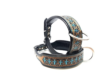 Hand Tooled Turquoise Cross MadcoW Western Cowboy Western Style Canine Leather K9 Dog Pet Collar Handmade Fully Adjustable