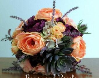 "Coral, Peach, Silver Grey, Plum Purple, Silk Flower Bridal Bouquet, Roses, Succulent, Hydrangea, Thistle, Lavender, ""Enchanting"""