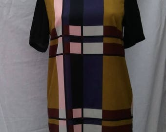 80s 90s Tunic Dress Block Colour XL Check Arty Baroque Pre Christmas Sale Reduced! Was 10 now 8!