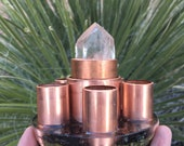 Orgone Super Powerful Chem Buster filled with Copper, Elite Shungite, LG Terimated Quartz Crystal, Peridot, Selenite, 4 in tall, 4 in cir