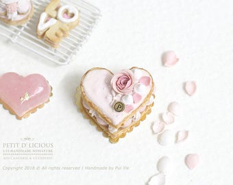RESERVED for Lisa-Heart Shaped Valentine's Millefeuille with Pink Rose in 1/12th miniature dollhouse Patisserie