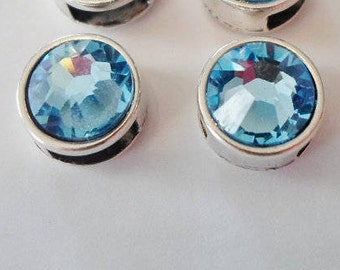 2 Aquamarine Blue Swarovski Crystal Silver Sliders for 5mm or 6mm flat Leather findings, jewelry supplies
