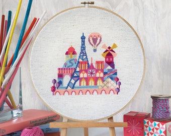 Pretty Little Paris - Satsuma Street Modern Cross stitch pattern PDF - Instant download