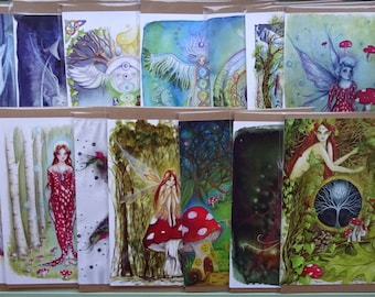 A5 Art Cards, Pack of 4, Value Pack, Greetings Cards,Choice of 15 designs, Fairy Cards, Goddess Cards, Angel Cards, Spiritual Cards