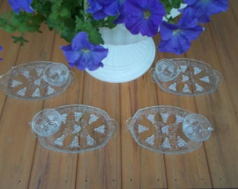 Harvest Grape Pattern, Snack Set, Anchor Hocking, Made in the USA, 1960's, 4 Plates 4 Cups