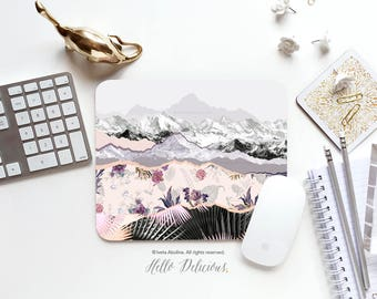 Mountain Mouse Pad Floral Mousepad Nature Mouse Mat Summer Mouse Pad Office Mousemat Floral Mousemat Mousepad Round 39.