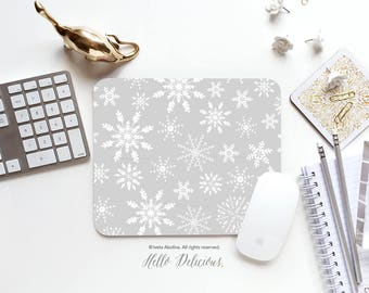 Mouse Pad Christmas Mouse Pad Mousepad Snowflake Mouse Mat Winter Mouse Pad Office Mousemat Rectangular Mousemat Snow Mousepad Round 115.