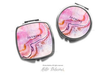 Agate Compact Mirror Purse Mirror Personalized Mirror Travel Mirror Gift Purse Mirror Marble Mirror Bridesmaid Gift Mirror Makeup Mirror 21.