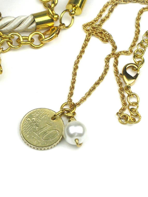 Charm Necklace in Gold Chain with Wire Wrapped Freshwater Pearl and Spanish Coin