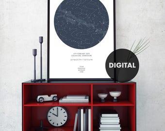Custom Star Map, Digital Star Map, Personalized Star Map, Custom Night Sky Print, Custom Sky Map, Custom Star Sky, Constellation