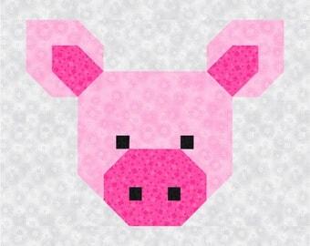 Pig Quilt Block Pattern, PDF, Instant Download, modern patchwork, Pretty Piggy, animal, cute, farm, rural, Corn Cob