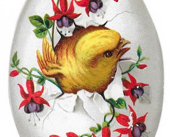 Victorian Egg-Shaped Easter Card, c. 1880