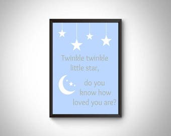 Boy nursery digital print, nursery art, nursery wall art, boy nursery decor, Twinkle wall art, twinkle decor, nursery decor, baby boy