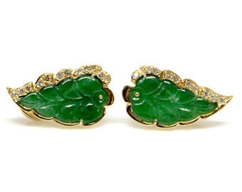 18k Yellow Gold Jade and Diamond Earrings Studs Leaf shape