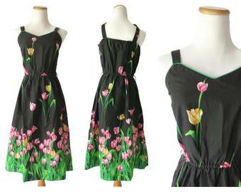 70s Sundress Tulip Print Dress 1970s Black Floral Dress Size Medium Large Pink Flower Print Midi Sweetheart Neckline