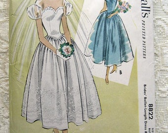 Vintage 50s Bridal Gown Dress, Sweetheart Neck Puff Sleeve.  McCall 8822 Sewing Pattern. Size 14