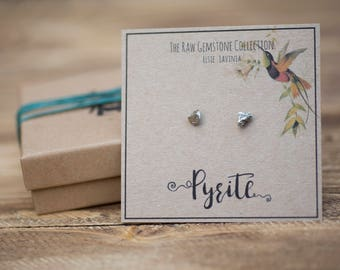 Raw Pyrite earrings crystal earrings raw gemstone earrings surgical steel boho earrings fools gold earrings raw jewellery earring studs