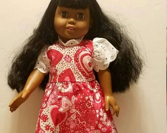 Pretty 18 inch  doll dress pink and lacey