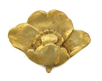 Art Deco Poppy Brooch. French Vintage Bronze Flower Pin.