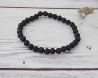 Strength - black lava stone bracelet, lava rock, yoga bracelet, natural stone, crystal healing, healing bracelet, lava stone bracelet