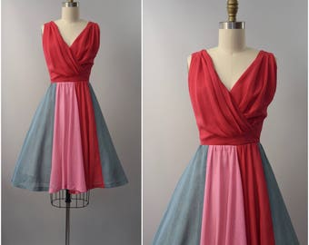 1970's hot pink color blocked sun dress •  size xs