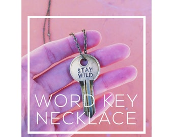 Vintage Giving Key Necklace | Hand Stamped Word Key | Customized Personalized Gift | Word Intent Mantra Jewelry