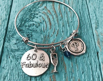 60 and Fabulous, 60th Birthday, Birthday Charm, Silver Birthday , Birthday Charm Bracelet, Silver Birthday Bracelet, Special Birthday, 60th