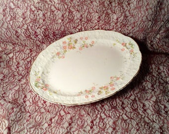 Large Oval Serving Platter - Rose Point, Embellished Floral Trim - Fine China with Gold Trim - Discontinued Pope Gosser - Wedding Serving