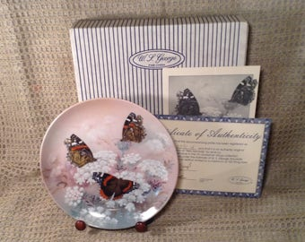 Red Admirals Butterfly Fine China Plate - Original Box, Certificate Authenticity - 8th Issue, Gossamer Wings Collection, Lena Liu